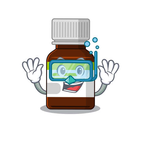 Antibiotic bottle mascot design swims with diving glasses 矢量图像