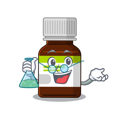 caricature character of antibiotic bottle smart Professor working on a lab