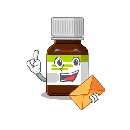 A picture of cheerful antibiotic bottle cartoon design with brown envelope 矢量图像