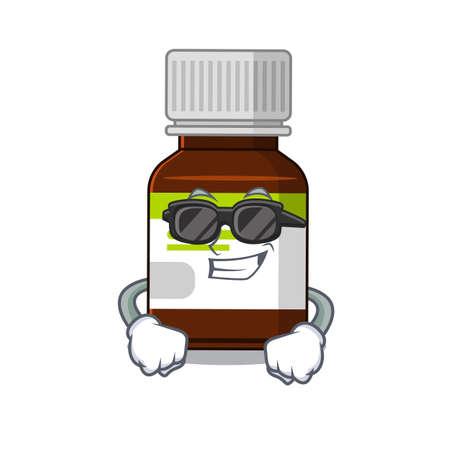 cartoon character of antibiotic bottle wearing classy black glasses Illusztráció