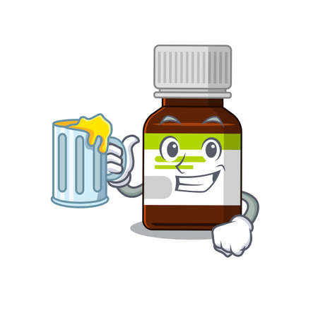 A cartoon concept of antibiotic bottle with a glass of beer
