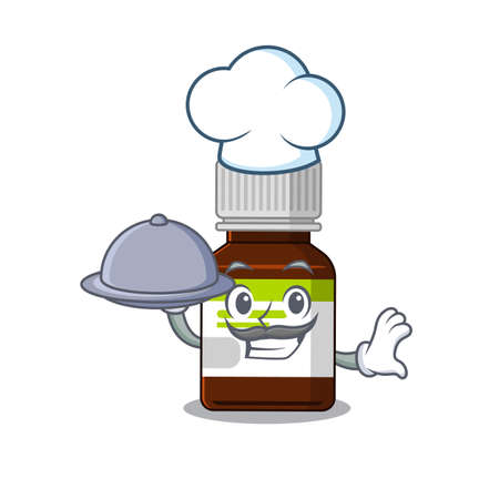 mascot design of antibiotic bottle chef serving food on tray