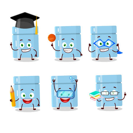 School student of fridge cartoon character with various expressions  イラスト・ベクター素材