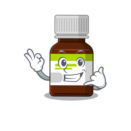 Caricature design of antibiotic bottle showing call me funny gesture