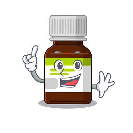 Antibiotic bottle caricature design style with one finger gesture Vector Illustration