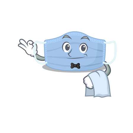 A cartoon picture of surgical mask waiter with a white napkin