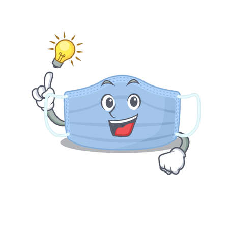 Mascot character of smart surgical mask has an idea gesture