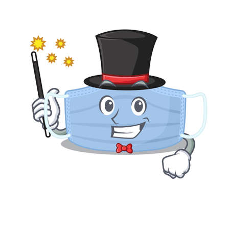 A gorgeous smart Magician of surgical mask cartoon design style