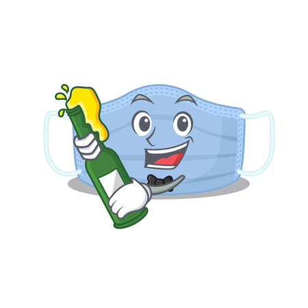 caricature design concept of surgical mask cheers with bottle of beer