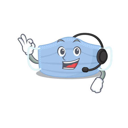 A stunning surgical mask mascot character concept wearing headphone
