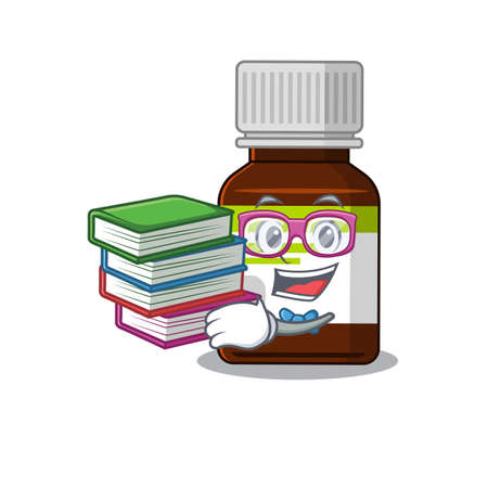 A diligent student in antibiotic bottle mascot design concept read many books  イラスト・ベクター素材