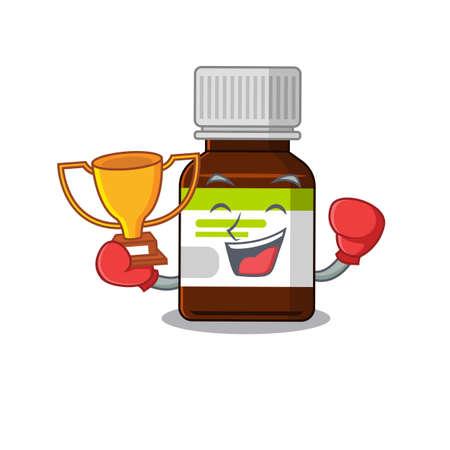 An elegant boxing winner of antibiotic bottle caricature design concept  イラスト・ベクター素材