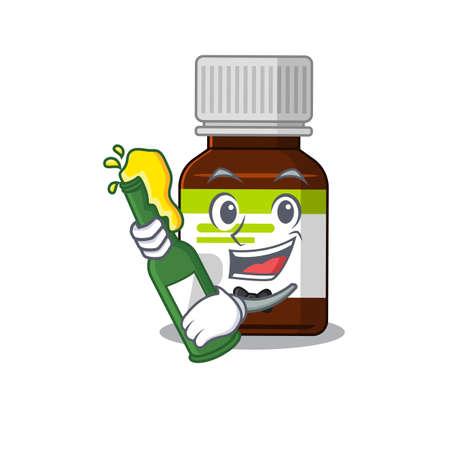 caricature design concept of antibiotic bottle cheers with bottle of beer