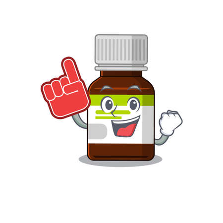 Antibiotic bottle in cartoon drawing character design with Foam finger