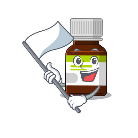 A heroic antibiotic bottle mascot character design with white flag