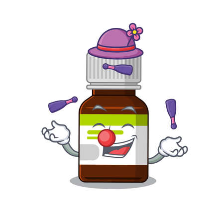 A antibiotic bottle cartoon design style succeed playing juggling  イラスト・ベクター素材