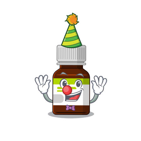smiley clown antibiotic bottle cartoon character design concept