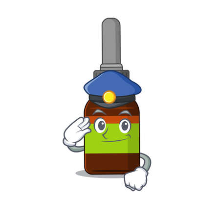 A handsome Police officer cartoon picture of liquid bottle with a blue hat