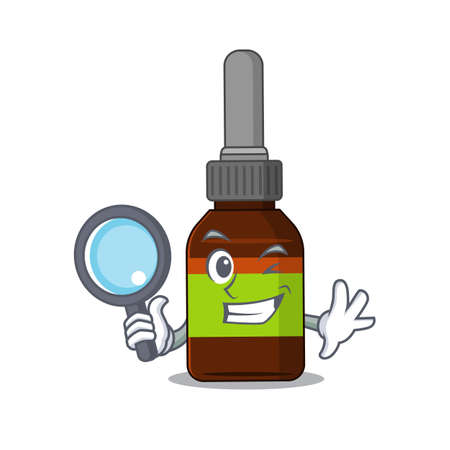 cartoon mascot design of liquid bottle super Detective breaking the case using tools Çizim