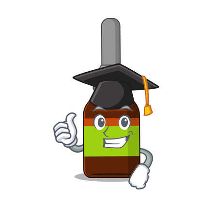 Liquid bottle caricature picture design with hat for graduation ceremony