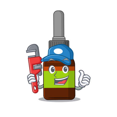 cartoon mascot design of liquid bottle as a Plumber with tool. Vector illustration