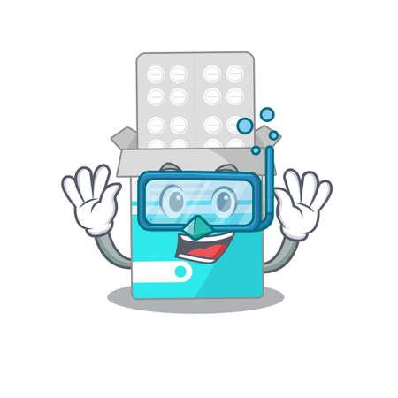 Medical medicine tablet mascot design swims with diving glasses. Vector illustration