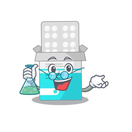 Super Genius Professor of medical medicine tablet Caricature character working on a lab. Vector illustration  イラスト・ベクター素材
