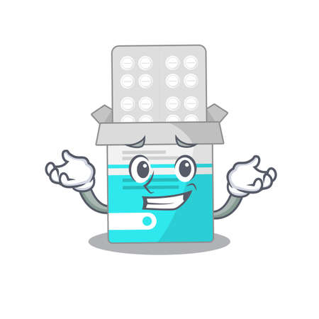 A sweet picture of grinning medical medicine tablet caricature design style. Vector illustration  イラスト・ベクター素材