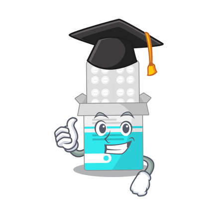 Medical medicine tablet caricature picture design with hat for graduation ceremony. Vector illustration