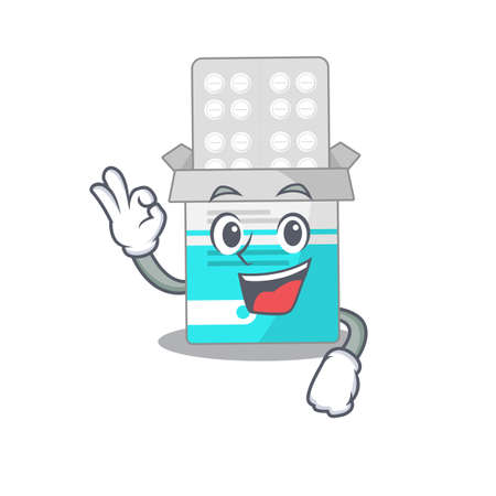 Medical medicine tablet cartoon mascot design with Okay finger poses. Vector illustration