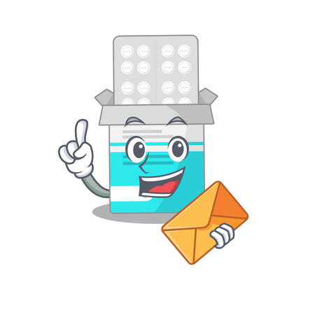 A picture of cheerful medical medicine tablet caricature design concept having an envelope. Vector illustration  イラスト・ベクター素材