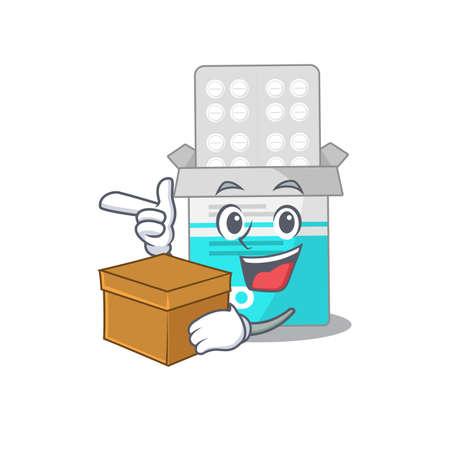 A smiling medical medicine tablet cartoon mascot style having a box. Vector illustration