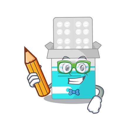 A student medical medicine tablet mascot design study at home during pandemic. Vector illustration