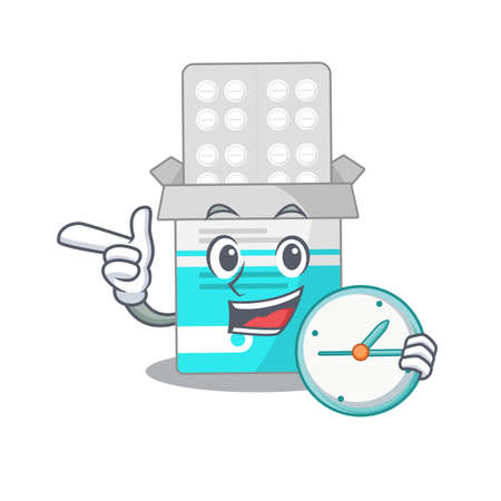 A picture of cheery medical medicine tablet holding a clock. Vector illustration