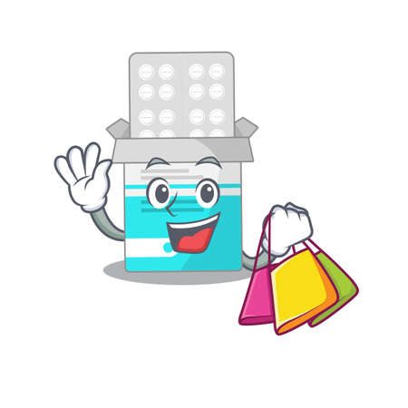 Medical medicine tablet wealthy cartoon character concept with shopping bags. Vector illustration  イラスト・ベクター素材