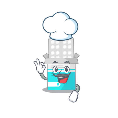 Medical medicine tablet chef cartoon drawing style wearing iconic chef hat. Vector illustration