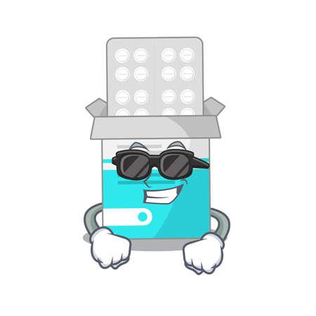 Fabulous medical medicine tablet cartoon character wearing classy black glasses. Vector illustration