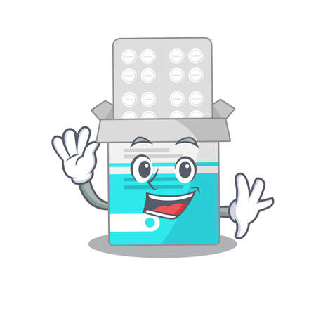 A charismatic medical medicine tablet mascot design concept smiling and waving hand. Vector illustration  イラスト・ベクター素材