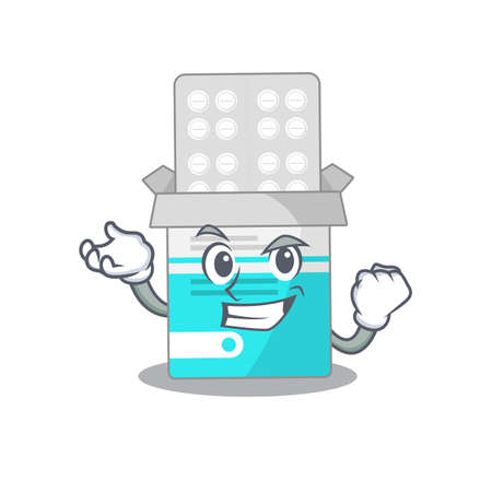 A caricature design concept of medical medicine tablet with happy face. Vector illustration