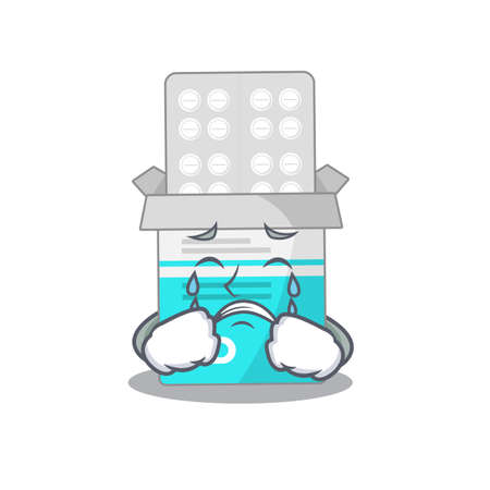 Caricature design style of medical medicine tablet with a sad face