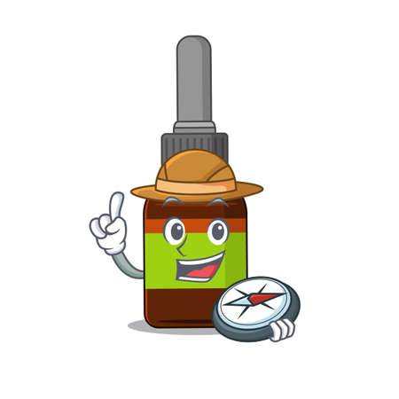 Liquid bottle mascot design style of explorer using a compass during the journey