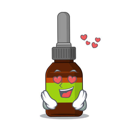 A passionate liquid bottle cartoon mascot concept has a falling in love eyes