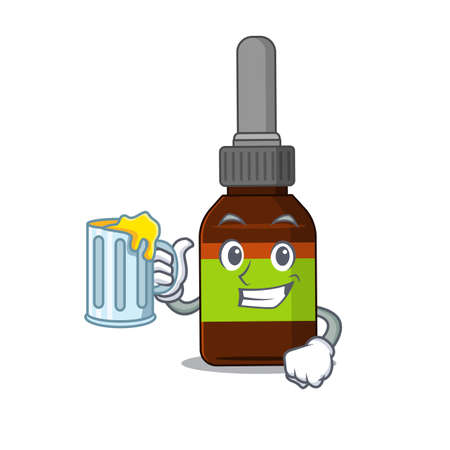 A cartoon concept of liquid bottle toast with a glass of beer