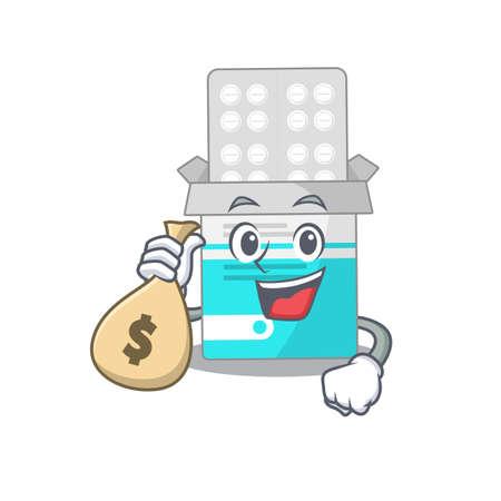 Crazy rich Cartoon picture of medical medicine tablet having money bags. Vector illustration  イラスト・ベクター素材
