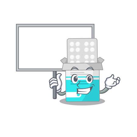 sweet Mascot design of medical medicine tablet bring a board. Vector illustration