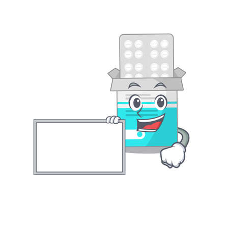 Cartoon character style of medical medicine tablet holding a white board. Vector illustration