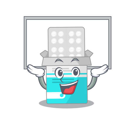 Mascot character of medical medicine tablet rise up a white board. Vector illustration