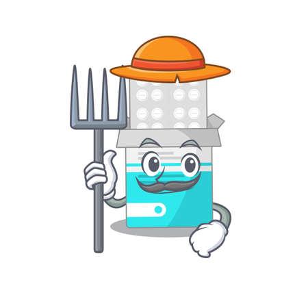 Farmer medical medicine tablet mascot design working with a hat. Vector illustration