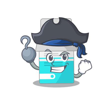one hook hands Pirate character medical medicine tablet cartoon design. Vector illustration Illustration