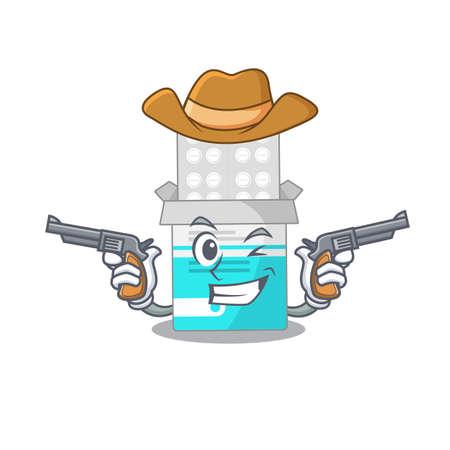 A wise cowboy of medical medicine tablet Cartoon design with guns. Vector illustration  イラスト・ベクター素材